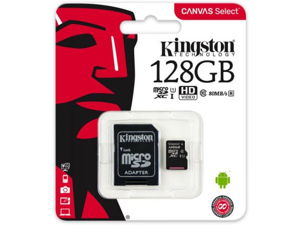 КАРТА KINGSTON 128 GB CLASS 10